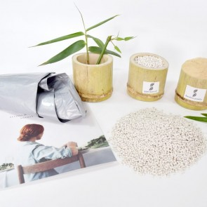 Bamboobiodegradable material for shopping bags,garbage bags, non woven bags, mulching films, seedling-raising plates BBM-M005
